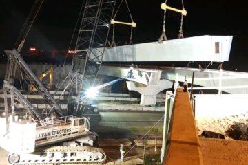 Girder installation on new bridge