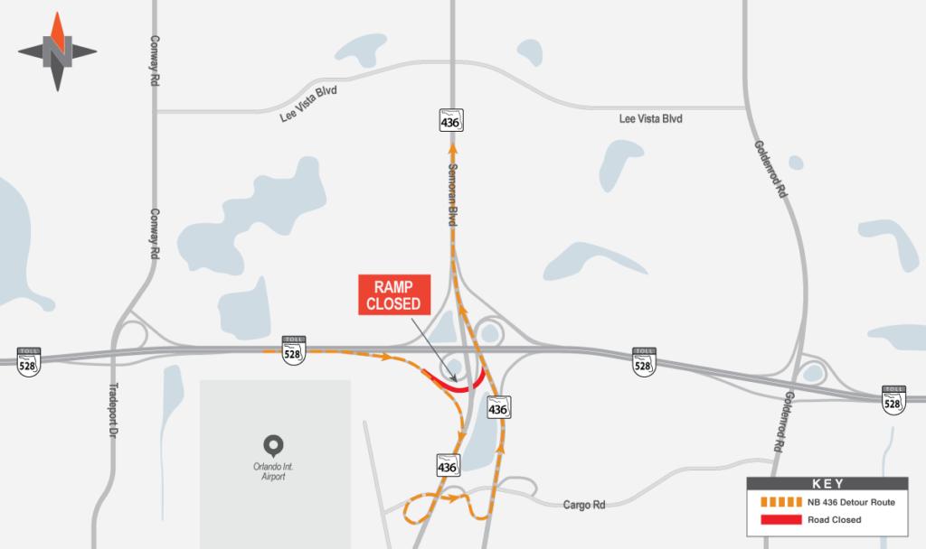 Eastbound SR 528 to Northbound SR 436 Detour