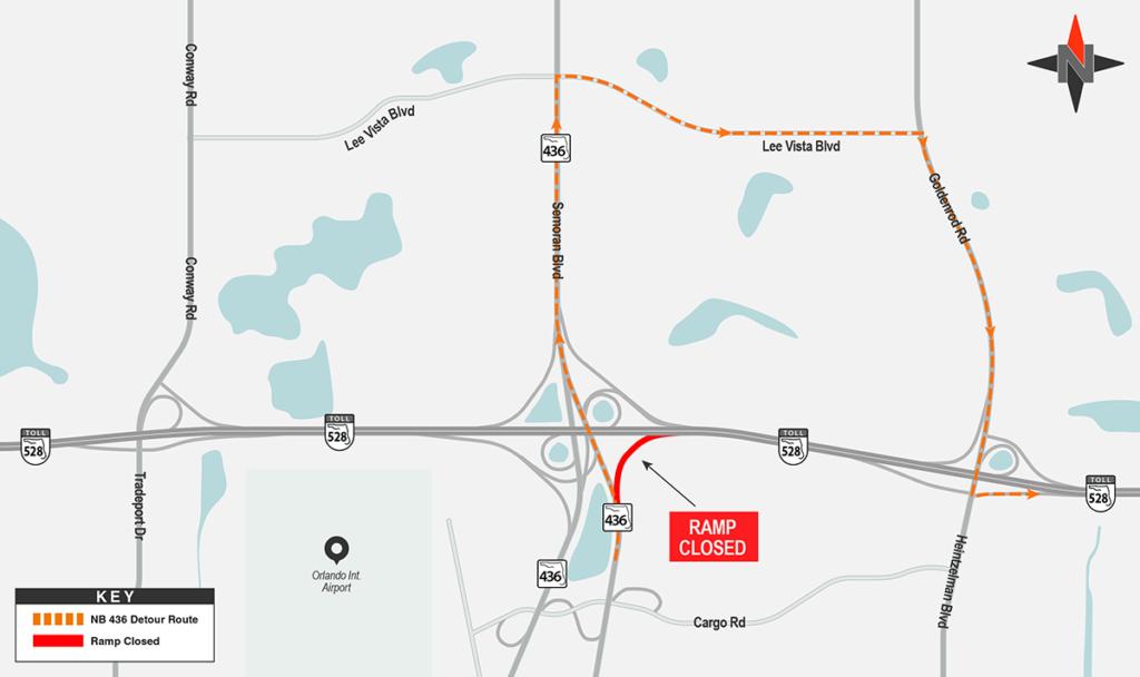 Northbound SR 436 to Eastbound SR 528 Detour