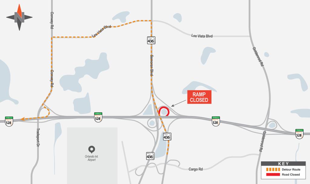 Northbound SR 436 to Westbound SR 528 Detour