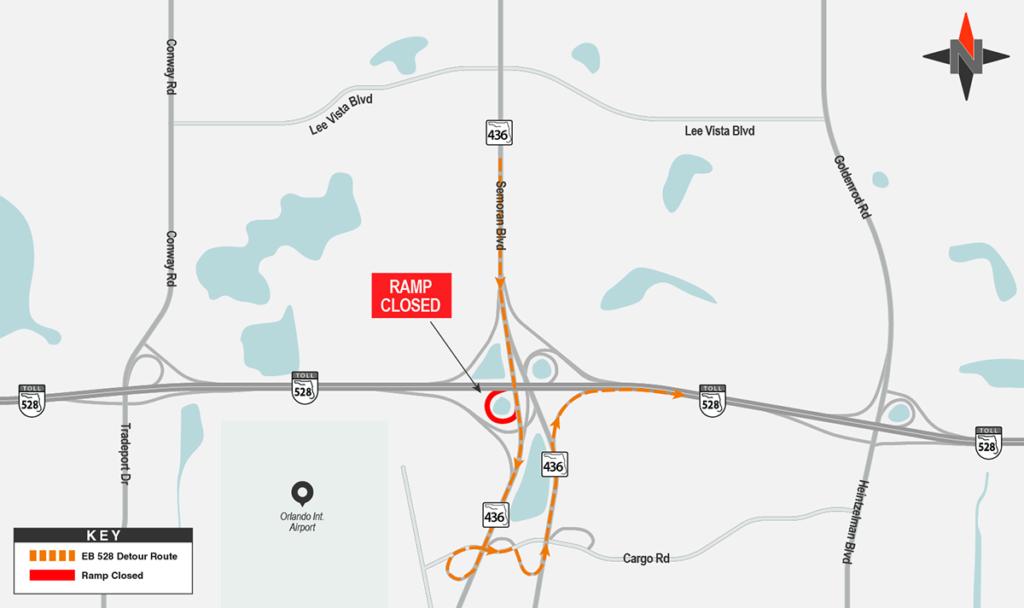 Southbound SR 436 to Eastbound SR 528 Detour