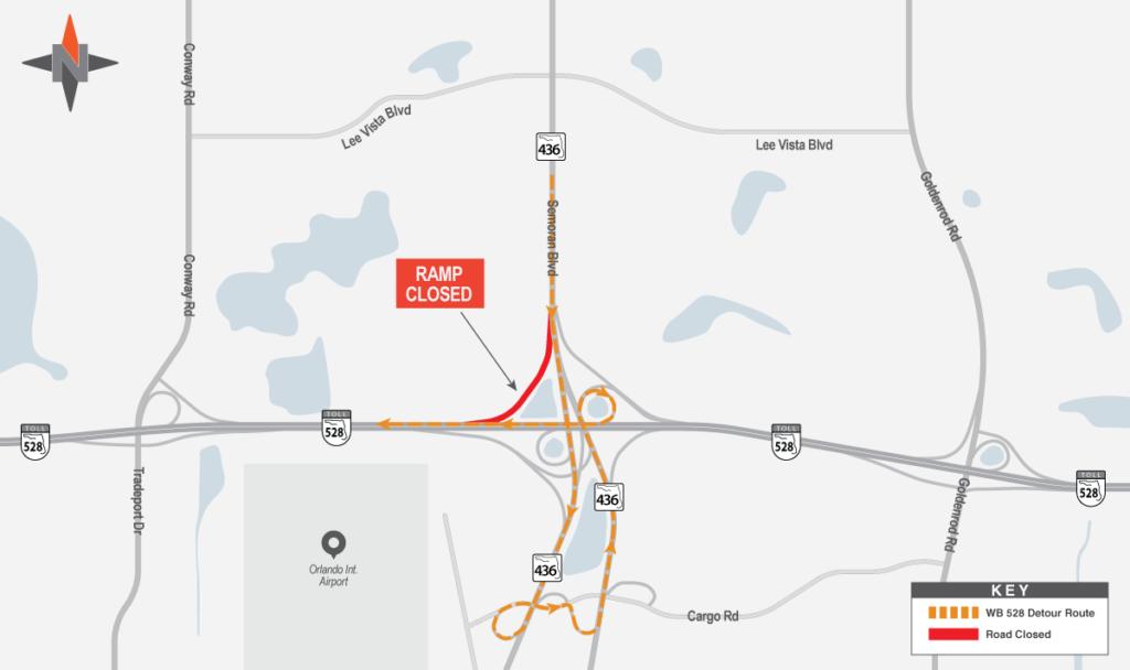 Southbound SR 436 to Westbound SR 528 Detour