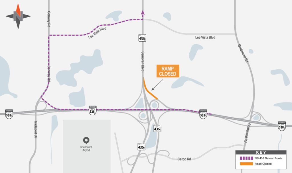 Westbound SR 528 to Northbound SR 436 Detour